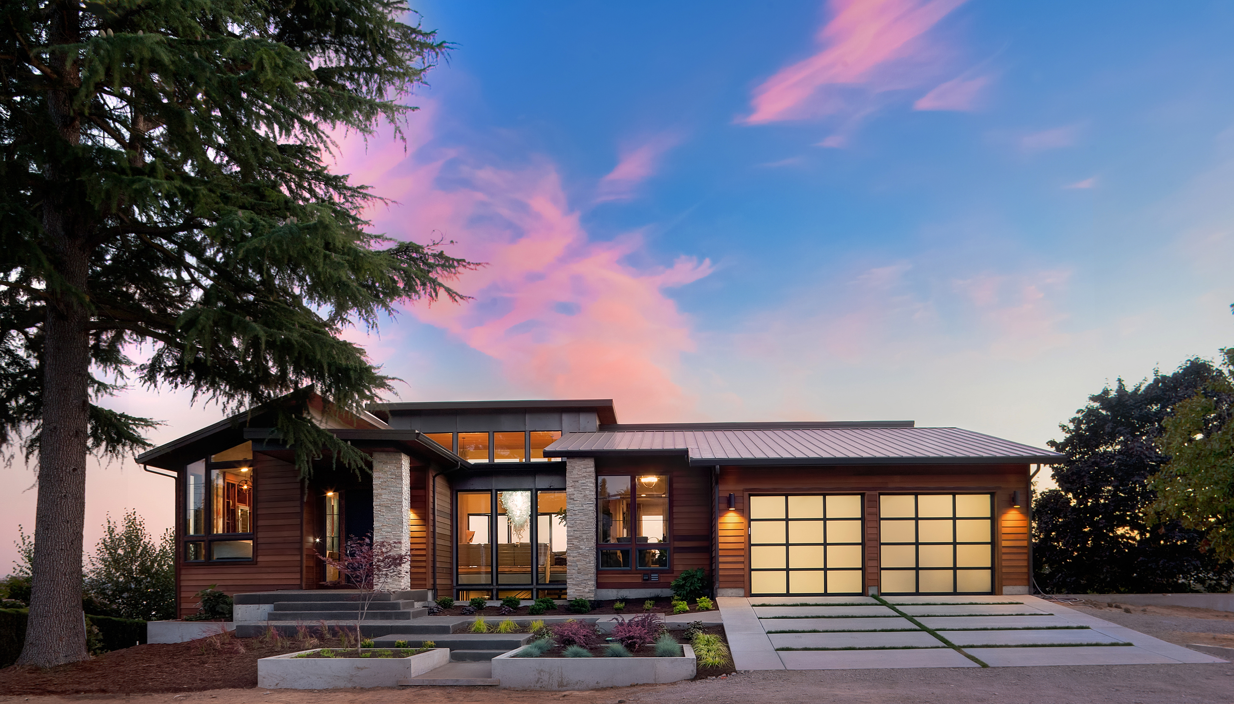 Beautiful Exterior of New Luxury Home at Twilight